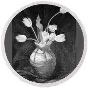 Tulips In A Vase Round Beach Towel