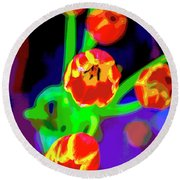 Tulips In Abstract Round Beach Towel
