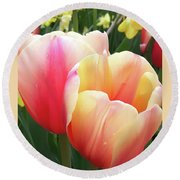 Tulips In Soft Pastels Round Beach Towel