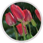 Tulips In The Rain Round Beach Towel
