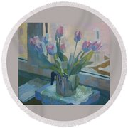 Tulips On A Window  Round Beach Towel