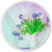 Tulips In Winter Round Beach Towel