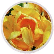 Tulips In Yellow Too Round Beach Towel