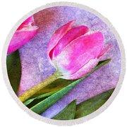 Tulips Meets Texture Round Beach Towel