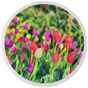 Tulips. Monet Style Digital Painting. Round Beach Towel