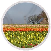 Tulips Morning Landscape Round Beach Towel