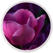 Tulips Purple Layers Round Beach Towel