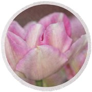 Tulips With Texture Round Beach Towel