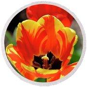 Tulips Yellow Red Round Beach Towel