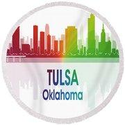 Tulsa Ok 1 Vertical Round Beach Towel