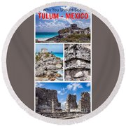 Tulum, Mexico Collage Round Beach Towel