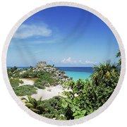 Tulum Ruins Round Beach Towel