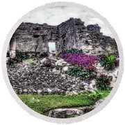 Tulum Temple Ruins No.2 Round Beach Towel