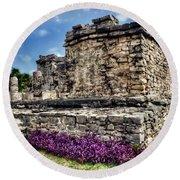Tulum Temple Ruins Round Beach Towel