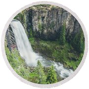 Tumalo Falls Round Beach Towel by Margaret Pitcher