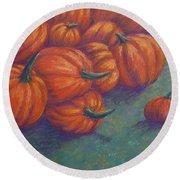 Tumbled Pumpkins Round Beach Towel