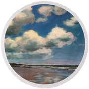Tumbling Clouds Round Beach Towel