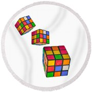 Tumbling Cubes Round Beach Towel