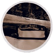 Tunnel Log - Sequoia National Park Round Beach Towel