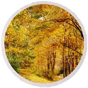 Tunnel Of Gold Round Beach Towel