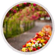 Tunnel Of Roses Round Beach Towel