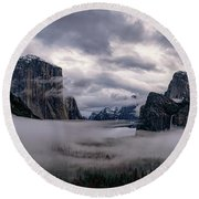 Tunnel View Storm Clouds Round Beach Towel