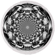 Tunnel Vision-black And White Round Beach Towel