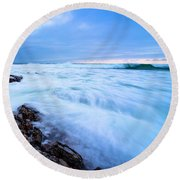 Turbulent Pacific Round Beach Towel