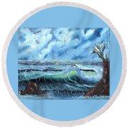 Turbulent Sea Round Beach Towel