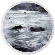 Turbulent Seas Round Beach Towel