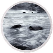 Turbulent Seas Round Beach Towel by Mike  Dawson