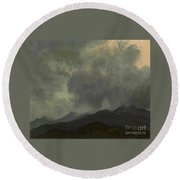 Turbulent_clouds_white_mountains Round Beach Towel