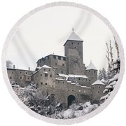 Tures Castle In The Snow Round Beach Towel