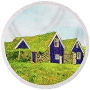 Turf Huts In Skaftafell Round Beach Towel