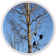 Turkey Vulture Tree Round Beach Towel