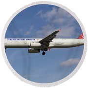 Turkish Delight Airlines Airbus A321 Round Beach Towel