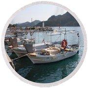 Turkish Fishing Boats Moored At Bozburun Round Beach Towel