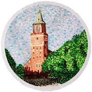 Turku Cathedral  Round Beach Towel