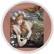 Turn Loose The Mermaid Round Beach Towel