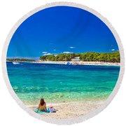 Turquoise Adriatic Beach In Primosten Round Beach Towel
