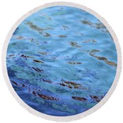 Turquoise And Blue Swirls Large Canvas Round Beach Towel