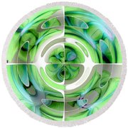 Turquoise And Green Abstract Collage Round Beach Towel