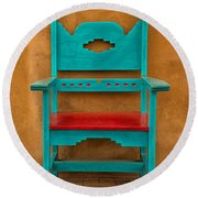 Turquoise And Red Chair Round Beach Towel