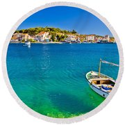 Turquoise Beach And Boat In Rogoznica Round Beach Towel