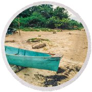 Turquoise Canoe Negril Round Beach Towel