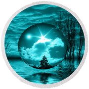 Turquoise Dreams Round Beach Towel