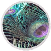 Turquoise Feather Round Beach Towel