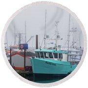 Turquoise Fishing Boat Round Beach Towel