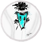 Turquoise In The City Round Beach Towel