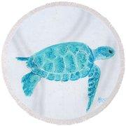 Turquoise Marine Turtle Round Beach Towel